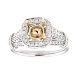 Genuine 14K Two Tone Gold 0.66CTW Diamond Semi Mount Ring - REF-99R2H