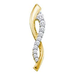 0.25CTW White and Champagne Diamond Anniversary 10KT Pendant Yellow Gold