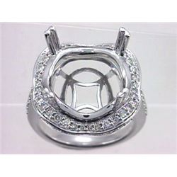 Genuine 14K White Gold 0.92CTW Diamond Semi Mount Ring - REF-98K4R
