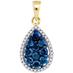 0.75CTW White and Blue Diamond Anniversary 10KT Pendant Yellow Gold