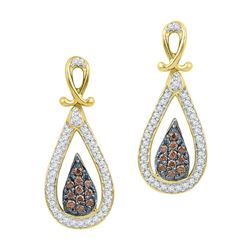 0.25CTW White and Champagne Diamond Anniversary 10KT Earrings Yellow Gold