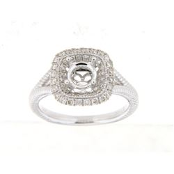 Genuine 14K White Gold 0.44CTW Diamond Semi Mount Ring - REF-71H9W