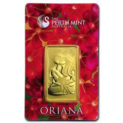 One pc. 1 oz .9999 Fine Gold Bar - Perth Mint Oriana Design In Assay