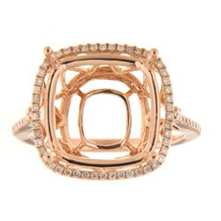Genuine 14K Rose Gold 0.31CTW Diamond Semi Mount Ring - REF-60H2W