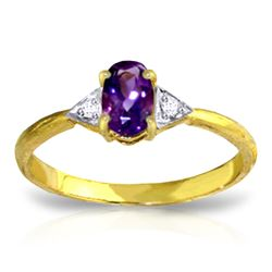 0.46 ctw Amethyst & Diamond Ring Jewelry 14KT Yellow Gold