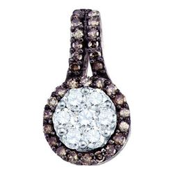 0.50CTW White and Champagne Diamond Anniversary 10KT Pendant White Gold
