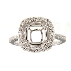 Genuine 14K White Gold 0.55CTW Diamond Semi Mount Ring - REF-84K2R
