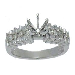 Platinum 0.48CTW Diamond Semi Mount Ring - REF-149A3X