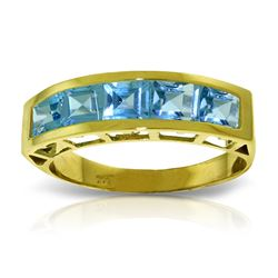 2.25 ctw Blue Topaz Ring Jewelry 14KT Yellow Gold