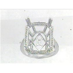 Genuine 14K White Gold 0.38CTW Diamond Semi Mount Ring - REF-60Z2T
