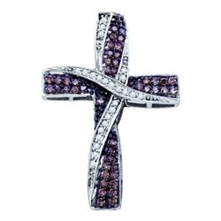 0.50CTW White and Champagne Diamond Cross 14KT Pendant White Gold