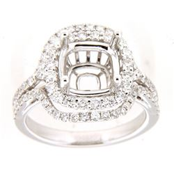 Genuine 14K White Gold 1.11CTW Diamond Semi Mount Ring - REF-133M4F