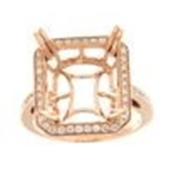 Genuine 14K Rose Gold 0.44CTW Diamond Semi Mount Ring - REF-71M8F