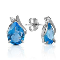 5.06 ctw Blue Topaz & Diamond Earrings Jewelry 14KT White Gold