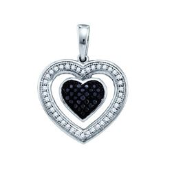 0.20CTW White and Black Diamond Heart 10KT Pendant White Gold