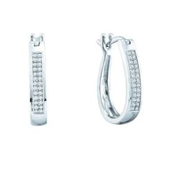 0.15CT Diamond Hoops 10KT Earrings White Gold
