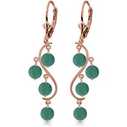 4 ctw Emerald Earrings Jewelry 14KT Rose Gold