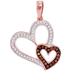 0.02CTW White and Champagne Diamond Anniversary 10KT Pendant Rose Gold
