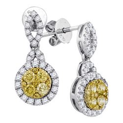 0.85CTW White and Yellow Diamond Anniversary 14KT Earrings White Gold