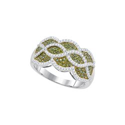 0.50CTW White and Green Diamond Micro-Pave 10KT Ring White Gold