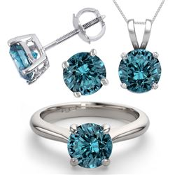 14K White Gold Jewelry SET 4.0CTW Blue Diamond Ring, Earrings, Necklace