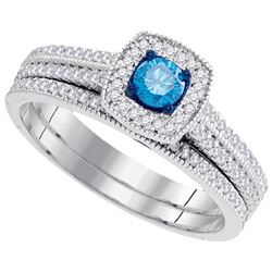 0.50CTW White and Blue Diamond Bridal 10KT Ring White Gold