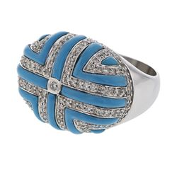 Genuine 18K WhiteGold 2.72CTW Turquoise Cocktail Ring - REF-174H4W