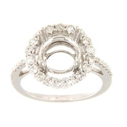 Genuine 14K White Gold 0.87CTW Diamond Semi Mount Ring - REF-102G6M