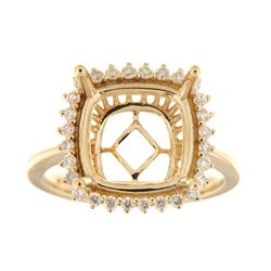 Genuine 14K Yellow Gold 0.35CTW Diamond Semi Mount Ring - REF-67H7W