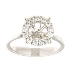 Genuine 14K White Gold 0.41CTW Diamond Semi Mount Ring - REF-62R2H