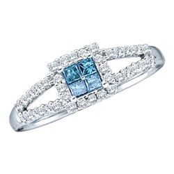 0.30CTW White and Blue Diamond Invisible 14KT Ring White Gold