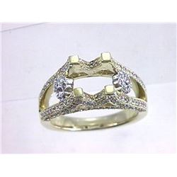 Genuine 14K Two Tone Gold 0.82CTW Diamond Semi Mount Ring - REF-107H9W