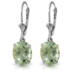 6.25 ctw Green Amethyst Earrings Jewelry 14KT White Gold