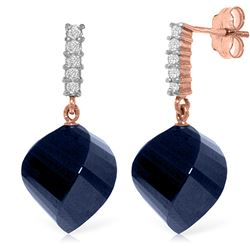 30.65 ctw Sapphire & Diamond Earrings Jewelry 14KT Rose Gold