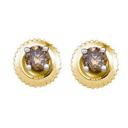 0.50CTW White and Champagne Diamond Stud 10KT Earrings Yellow Gold