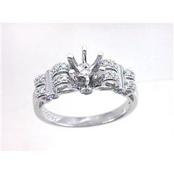 Genuine 18K White Gold 0.27CTW Diamond Semi Mount Ring - REF-71K5R