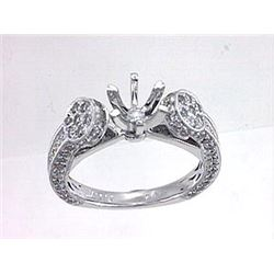 Genuine 14K White Gold 0.98CTW Diamond Semi Mount Ring - REF-94T9K