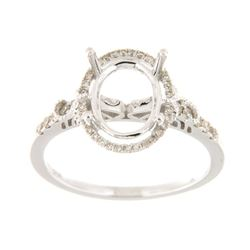 Genuine 14K White Gold 0.25CTW Diamond Semi Mount Ring - REF-39W4G