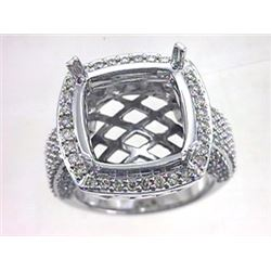 Genuine 14K White Gold 1.32CTW Diamond Semi Mount Ring - REF-164R2H
