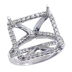 Genuine 14K White Gold 0.63CTW Diamond Semi Mount Ring - REF-77W8G