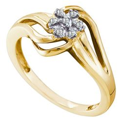 0.05CT Diamond Flower 10KT Ring Yellow Gold