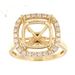 Genuine 14K Yellow Gold 0.69CTW Diamond Semi Mount Ring - REF-90M6F