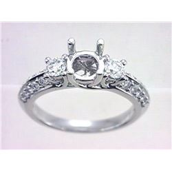 Genuine 18K White Gold 0.77CTW Diamond Semi Mount Ring - REF-130F6N