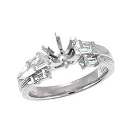 Genuine 18K White Gold 0.27CTW Baguette Semi Mount Ring - REF-83Z6T