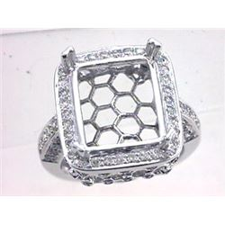 Genuine 14K White Gold 0.9CTW Diamond Semi Mount Ring - REF-98K6R