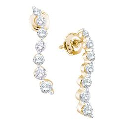 1.0CT Diamond Journey 14KT Earrings Yellow Gold