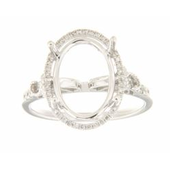 Genuine 14K White Gold 0.27CTW Diamond Semi Mount Ring - REF-51A7X