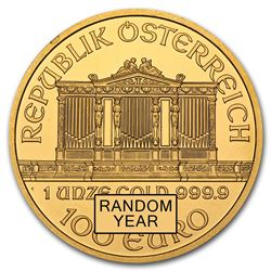 One pc. Austria 1 oz .9999 Fine Gold Philharmonic BU Random Year