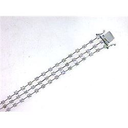 Genuine 14K White Gold 3.44CTW Diamond Multi-Row Bracelet - REF-273H6W