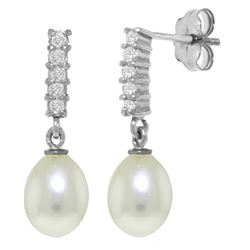 8.15 ctw Pearl & Diamond Earrings Jewelry 14KT White Gold